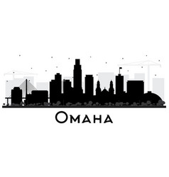 omaha nebraska city skyline silhouette with black vector image