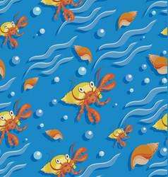 Orange hermit crab and seashells on waves vector