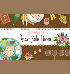 Passover seder table with seder plate and other vector