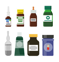 pharmacy production bottles set vector image