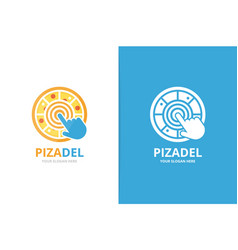 pizza and click logo combination food and vector image