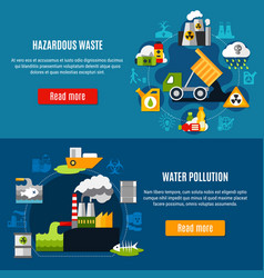 Pollution and waste banners set vector