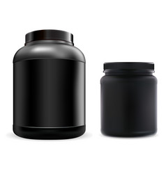 protein supplement jar mockup black container vector image
