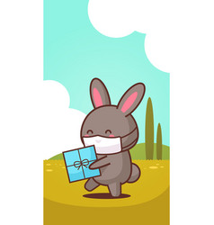 rabbit holding present box wearing face mask to vector image