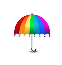 rainbow colored umbrella isolated summer vector image