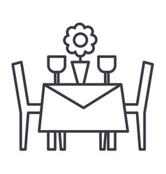 restaurant table with chairs line icon vector image