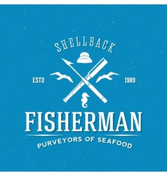 Retro Fisherman Logo or Label Template vector