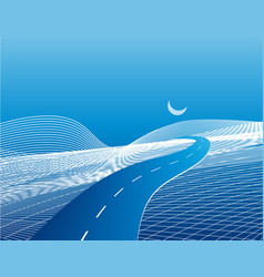 road and highway on a stylized abstract map with vector image