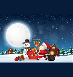 santa delivery gift at night vector image