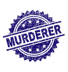 Scratched textured murderer stamp seal vector