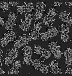 seamless pattern background with beetle vector image