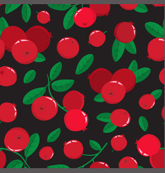 Seamless pattern with cartoon cranberries vector