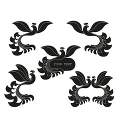set of abstract silhouette of the bird vector image
