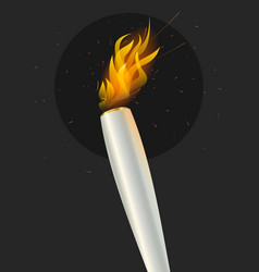Silver torch flame on dark abstract background vector