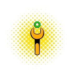 Spanner and nut icon comics style vector