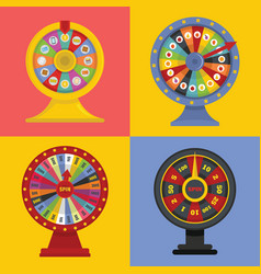 Spin wheel banner concept set flat style vector