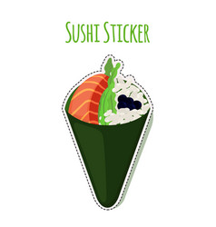 Sushi sticker asian food with salmon rice label vector