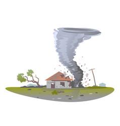 Tornado destroys house isolated vector