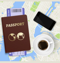 travel concept top view coffee map and vector image