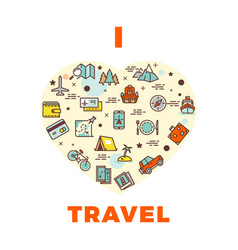 Travel poster or print - i love travel design vector