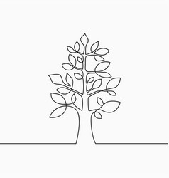 tree with leaf one line vector image