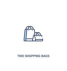 Two shopping bags concept 2 colored icon simple vector
