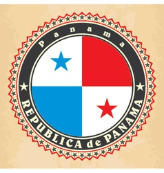 Vintage label cards of Panama flag vector image