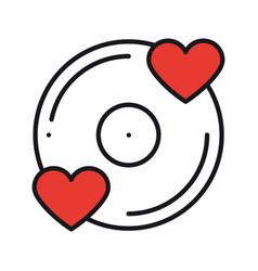 vinyl line icon favorite song vinyl record disco vector image