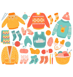 winter knit clothes handmade wool clothing and vector image