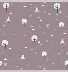 Winter seamless pattern with spruce fir and trees vector