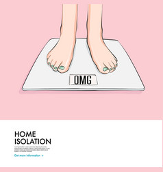 Woman standing on scales funny omg quote diet vector