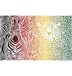 Zebra and cheetah color pattern vector