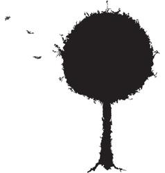 Black tree grunge silhouette vector image