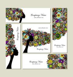 business cards design female floral portrait vector image vector image