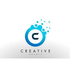 c letter logo blue dots bubble design vector image