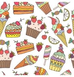 ice cream and cake vector image