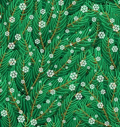Pine twigs and snowflakes seamless pattern vector image