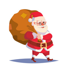 santa claus carrying big sack with gifts vector image