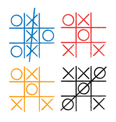 tic tac toe set noughts and crosses board game vector image vector image