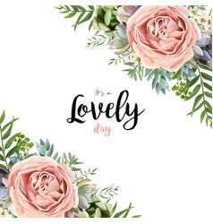 floral card frame bouquet design garden pink rose vector image