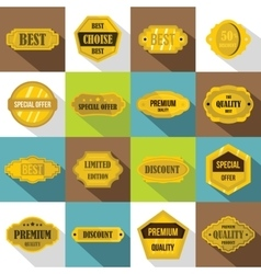 Golden labels icons set flat style vector image