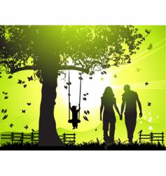 happy family walks at sunset vector image