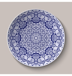 Round blue floral ornament Chinese style painting vector image