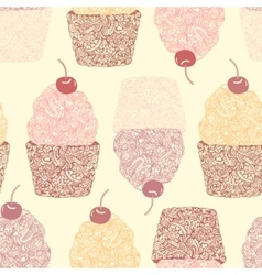 Seamless background with cupcakes vector image vector image