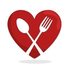 Symbol healthy food heart spoon fork vector