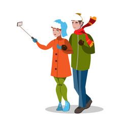 young couple taking a selfie vector image vector image