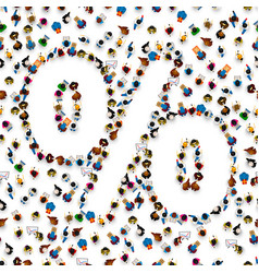 a crowd of people in form of percent sign symbol vector image vector image