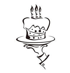 cake in hand vector image