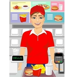 caucasian male cashier at fast food restaurant vector image vector image