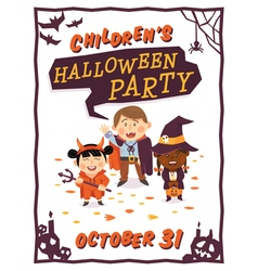 Halloween background with kids vector image vector image